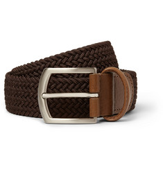 Anderson's Brown 3.5cm Leather-Trimmed Elasticated Woven Belt