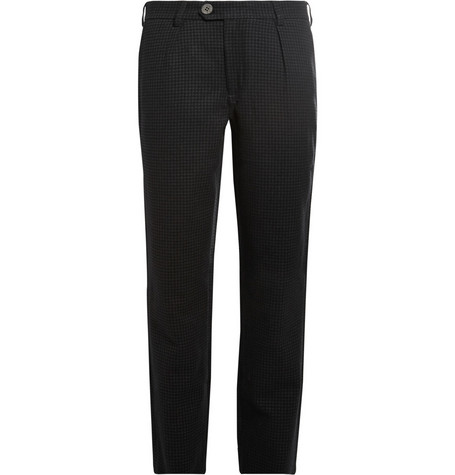 Oliver Spencer Charcoal Houndstooth Wool and Cotton-Blend Suit Trousers