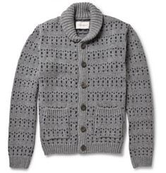 Oliver Spencer Patterned Shawl-Collar Wool-Blend Cardigan