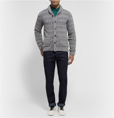 Oliver Spencer Patterned Wool-Blend Shawl-Collar Cardigan