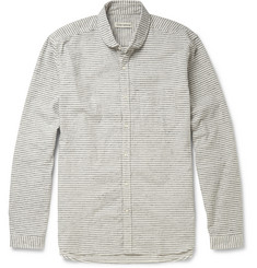 Oliver Spencer Brushed Slub-Cotton Penny Collar Shirt
