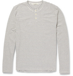 Oliver Spencer Striped Cotton-Piqué Henley T-Shirt