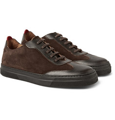 Oliver Spencer Suede and Embossed-Leather Sneakers