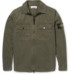 Stone Island Zipped Washed Cotton Overshirt