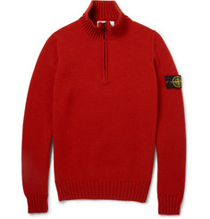 Stone Island Zip-Collar Wool-Blend Sweater