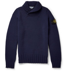 Stone Island Shawl-Collar Wool-Blend Sweater