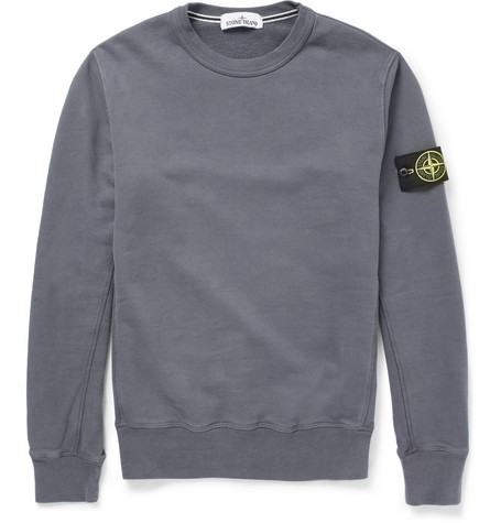 Stone Island Fleece-Back Cotton-Jersey Sweater