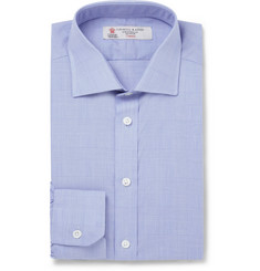 Turnbull & Asser Blue Prince Of Wales Check Cotton Shirt