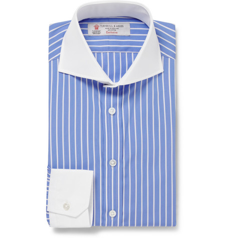 Turnbull & Asser Blue Striped Contrast-Collar Cotton Shirt