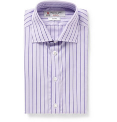 Turnbull & Asser Purple Slim-Fit Micro-Check Cotton Shirt