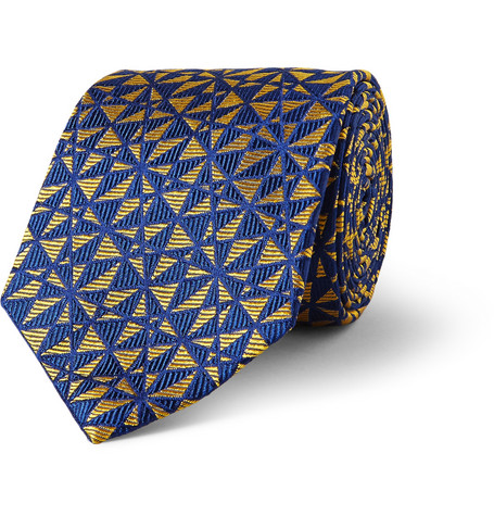 Turnbull & Asser Geometric-Patterned Woven-Silk Tie