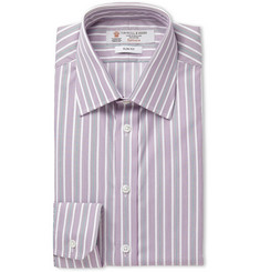 Turnbull & Asser Purple Slim-Fit Striped Cotton Shirt
