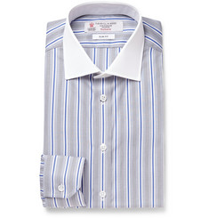 Turnbull & Asser Grey Slim-Fit Striped Cotton Shirt
