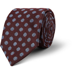 Turnbull & Asser Spotted Cashmere, Wool and Silk-Blend Tie