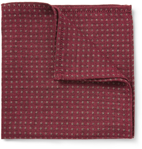 Turnbull & Asser Wool, Cashmere and Silk-Blend Polka-Dot Pocket Square
