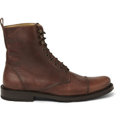 Billy Reid Burnished-Leather Lace-Up Boots