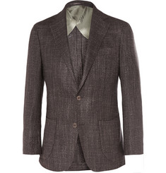Thom Sweeney Slim-Fit Basketweave Wool Blazer