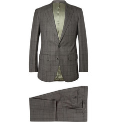 Thom Sweeney Brown Prince of Wales Check Wool Three-Piece Suit