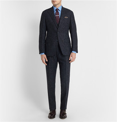 Thom Sweeney Navy Slim-Fit Slubbed Wool Three-Piece Suit