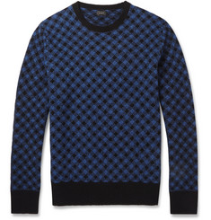 J.Crew Check Knitted-Wool Sweater
