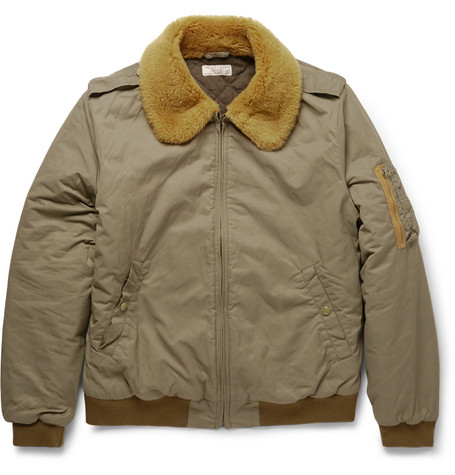 bffd02b83 Wallace & Barnes Shearling-Collar Bomber Jacket in Green