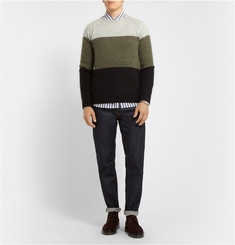 Hentsch Man Panelled Merino Wool and Mohair-Blend Sweater