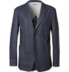Hentsch Man Navy Slim-Fit Unstructured Wool-Blend Suit Jacket