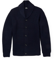 A.P.C. Ribbed-Knit Wool Shawl-Collar Cardigan