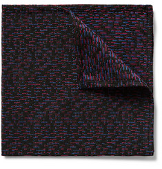 Marwood Dashline Woven Silk and Wool-Blend Pocket Square