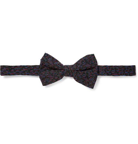 Marwood Dashline Woven Silk and Wool-Blend Bow Tie