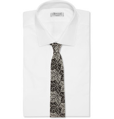 Marwood Leaf-Print Cotton-Lace Tie
