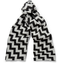 Marwood Zig-Zag Patterned Wool and Cotton-Blend Scarf