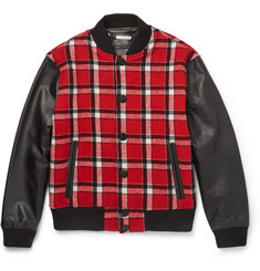 Marc by Marc Jacobs Plaid Wool-Blend and Leather Bomber Jacket