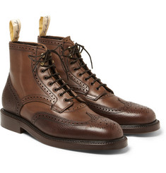 Grenson Foot The Coacher Pebble-Grain Leather Brogue Boots