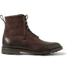 Edward Green Galway Shearling-Lined Pebble-Grain Leather and Suede Boots