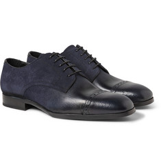 Jimmy Choo Prescott Glossed-Leather and Suede Dégradé Derby Shoes