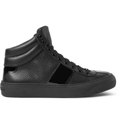 Jimmy Choo Belgravia Patent and Grained-Leather High Top Sneakers