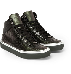 Jimmy Choo Belgravia Crocodile-Embossed Leather High-Top Sneakers