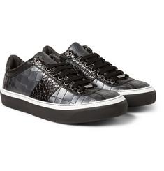 Jimmy Choo Portman Metallic Crocodile-Embossed Leather Sneakers