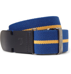 Tod's - 3.5cm Blue Leather-Trimmed Striped Canvas Belt