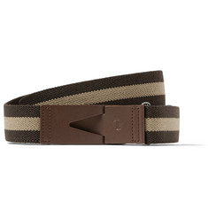 Tod's 3cm Striped Brown Leather and Canvas Belt