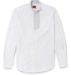 Barena Striped Cotton Grandad-Collar Shirt