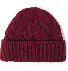 Oliver Spencer Cable-Knit Wool-Blend Beanie Hat