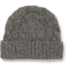 Oliver Spencer Wool-Blend Cable-Knit Beanie Hat