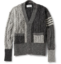 Thom Browne Panelled Donegal Wool and Mohair-Blend Cardigan