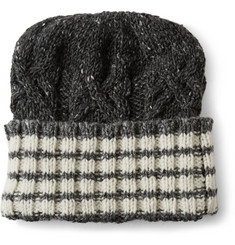 Thom Browne Striped Donegal Wool and Cashmere-Blend Beanie Hat