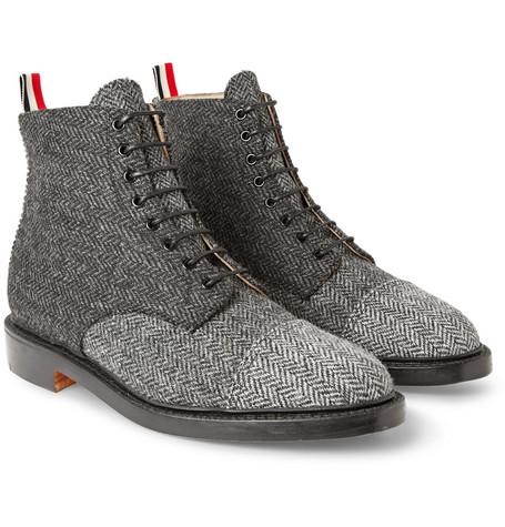 thom browne herringbone tweed derby boots mr porter