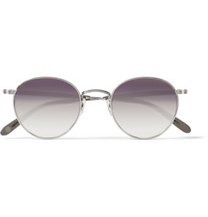 Garrett Leight California Optical Wilson Round-Frame Metal Mirrored Sunglasses