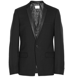 Sandro Slim-Fit Leather-Trimmed Wool-Twill Tuxedo Jacket