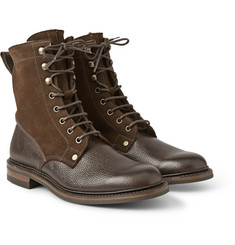 Cheaney Scott Shearling-Lined Pebble-Grain Leather and Suede Boots